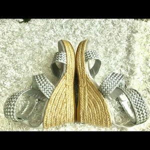 Stuart Weitzman Shoes - Girls - Stuart Weitzman Swinger silver wedges